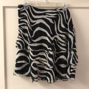 White House Black Market Sheer Zebra Print Skirt